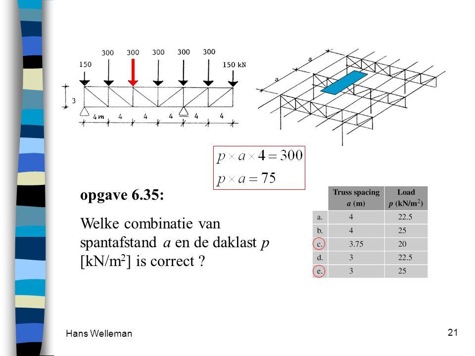 opgave 6.35: Welke combinatie van spantafstand a en de daklast p [kN/m2] is correct Hans Welleman